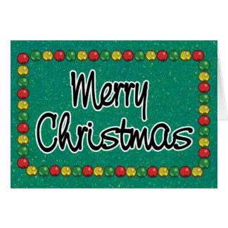 Carte de Noël verte de perle de parties