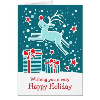 Carte de Noël verte turquoise caracolante de