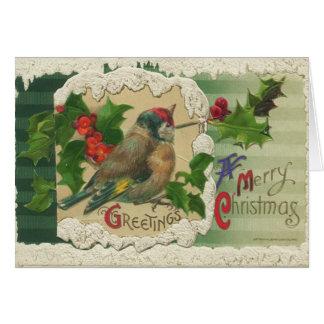 Carte de Noël victorienne d oiseau