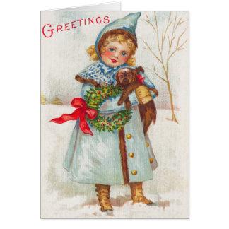 Carte de Noël victorienne de l'enfant