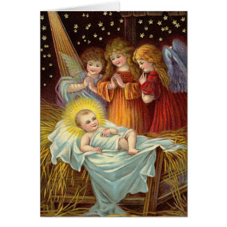 Carte de Noël victorienne de nativité