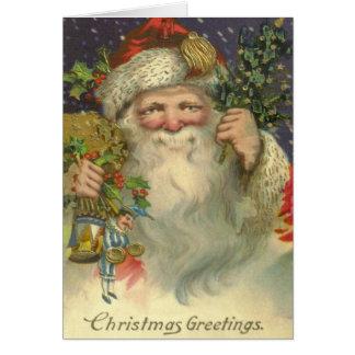 Carte de Noël victorienne de Père Noël d'art