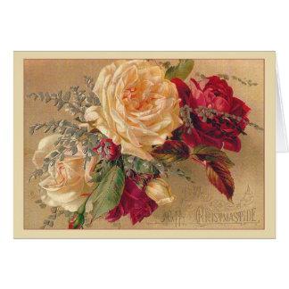 Carte de Noël victorienne de roses