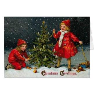 Carte de Noël victorienne d'enfants