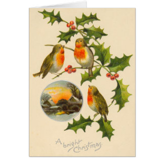 Carte de Noël victorienne d'oiseau