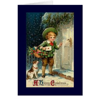 Carte de Noël vintage avec le garçon