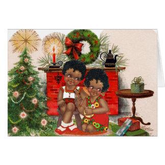 Carte de Noël vintage d'Afro-américain
