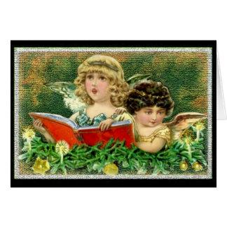 Carte de Noël vintage d'anges de soeur