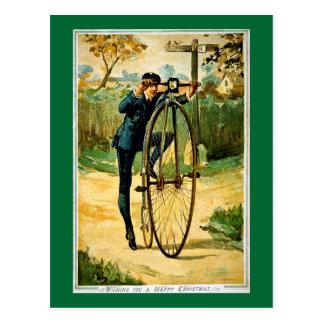 Carte de Noël vintage de bicyclette