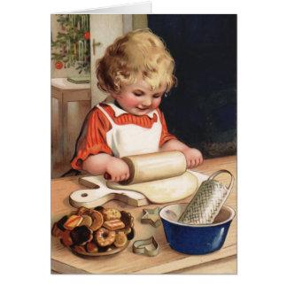 Carte de Noël vintage de biscuits de Noël