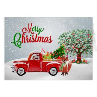 Carte de Noël vintage de camion et de Fox