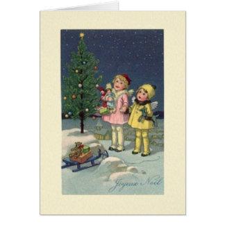 Carte de Noël vintage de Joyeux Noel de Français