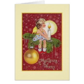 Carte de Noël vintage de Meilleurs Vœux de