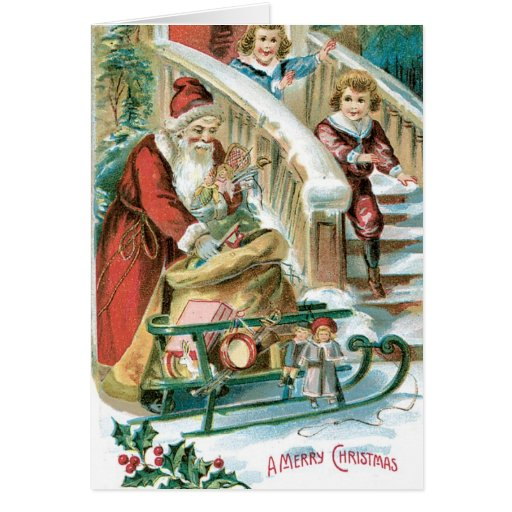 Carte de Noël vintage de Père Noël