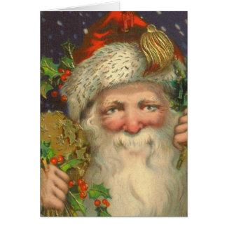 Carte de Noël vintage de Saint-Nicolas