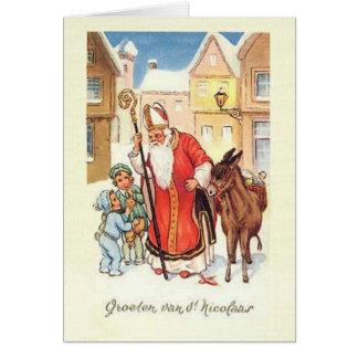 Carte de Noël vintage de Saint-Nicolas Nicolaas de
