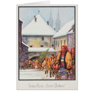 Carte de Noël vintage de Sretan Božić de Croate
