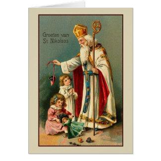 Carte de Noël vintage de St Nikolaas de
