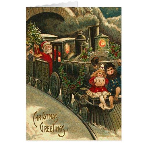 Carte de Noël vintage de train de Père Noël