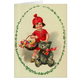 Carte de Noël vintage d'enfant mignon