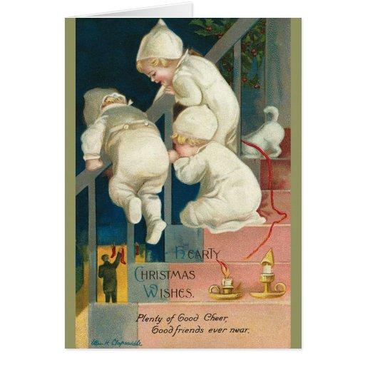 Carte de Noël vintage d'enfants