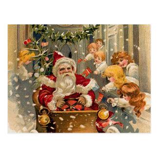 Carte de Noël vintage d'entraînement de minuit