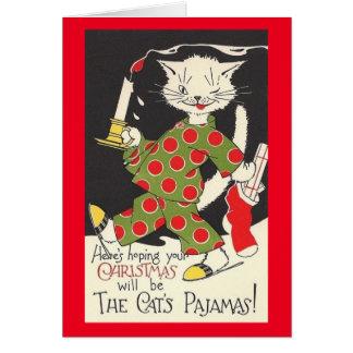Carte de Noël vintage des pyjamas du chat