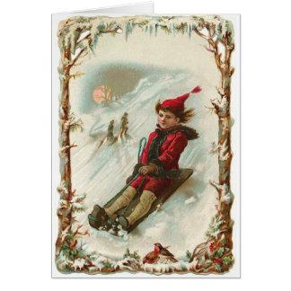 Carte de Noël vintage d'hiver