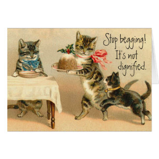 Carte de Noël vintage drôle de chat
