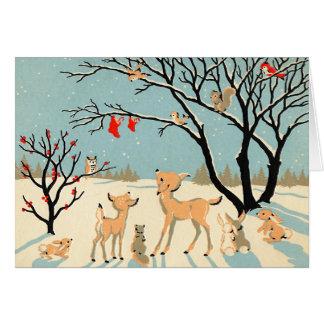 Carte de Noël vintage du pays des merveilles d'hiv