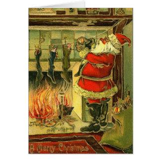 Carte de Noël vintage - Père Noël, bas