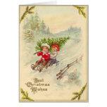 Carte de Noël vintage Sledding d'enfants