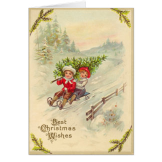 Carte de Noël vintage Sledding d'enfants