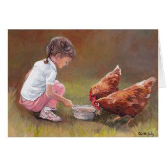 Carte de note animale d'art de dîner de poulet