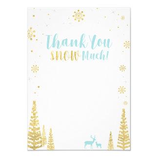 Carte de note assortie de Merci d'hiver de bleu et
