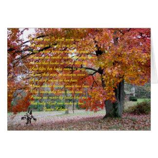 Carte de note avec le chêne coloré par automne