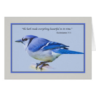 Carte de note avec l'oiseau de geai bleu