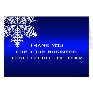 Carte de note blanche et bleue de Merci d'affaires