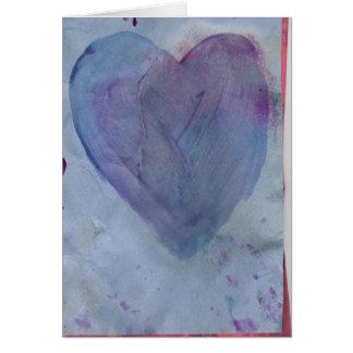Carte de note bleue d'aquarelle de coeur