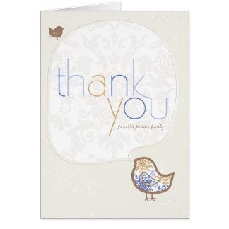 Carte de note bleue de Merci de bébé de poussins