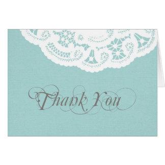Carte de note bleue de Merci de mariage de