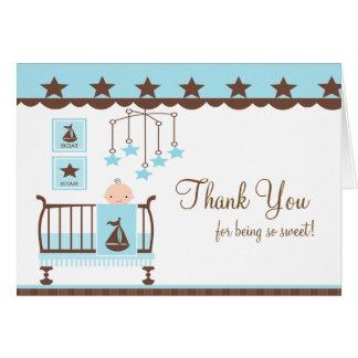 Carte de note bleue de Merci de pièce de bébé