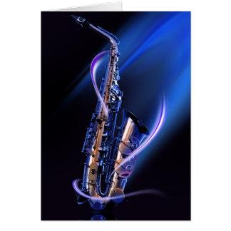 Carte de note bleue de saxophone