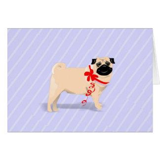 Carte de note - chien de carlin avec le ruban