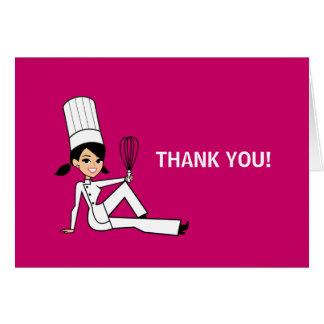 Carte de note culinaire de Merci de chef pliée