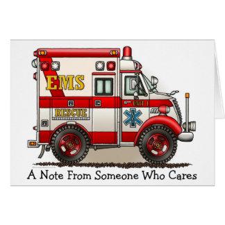Carte de note d'ambulance de camion de boîte