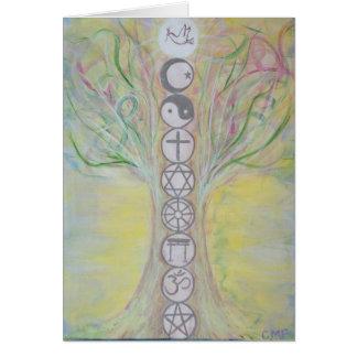 Carte de note d'arbre d'unité - l'amour sait la