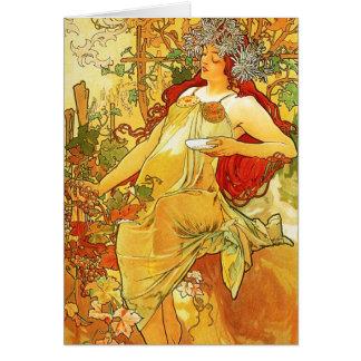 Carte de note d'automne d'Alphonse Mucha