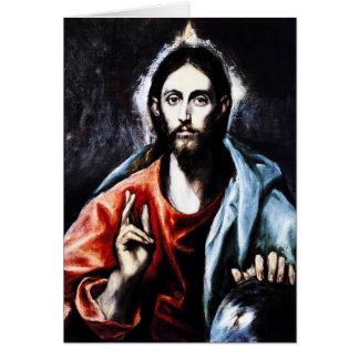 Carte de note de bénédiction d'El Greco le Christ