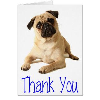 Carte de note de blanc de chiot de carlin de Merci